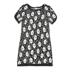 CHANEL Dress with Black and White Flowers Size 36FR