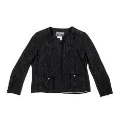 CHANEL Jacket in Black Silk Size 42FR