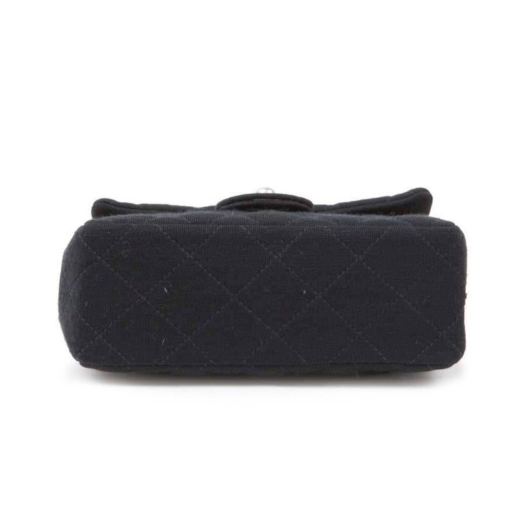 917f564fd17 Mini CHANEL Bag in Black Jersey In Excellent Condition For Sale In Paris