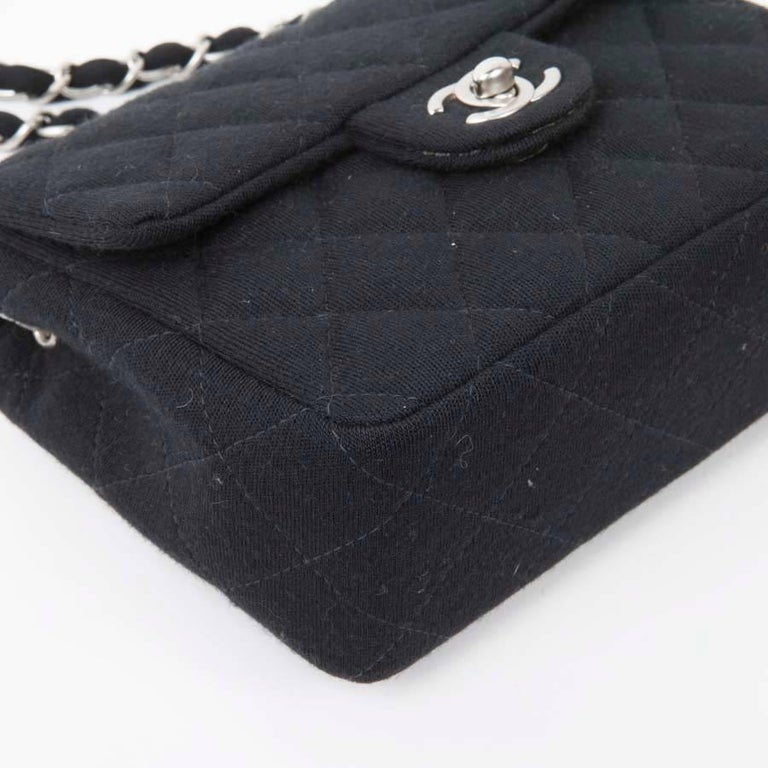 09398331467 Mini CHANEL Bag in Black Jersey For Sale at 1stdibs