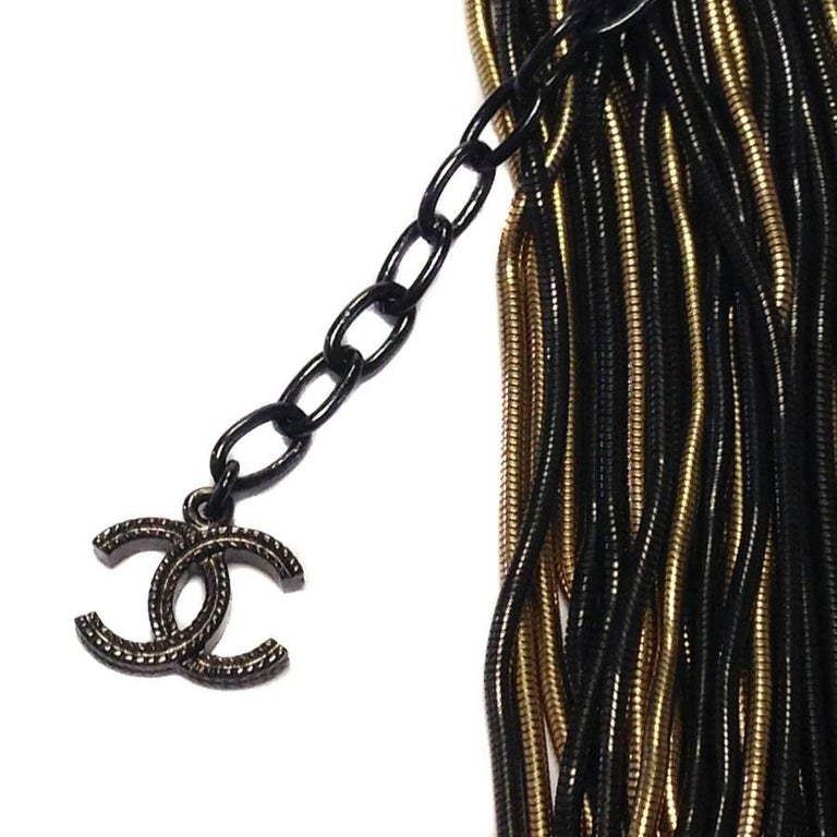 Women's CHANEL Black and Golden Multi Chains Necklace For Sale