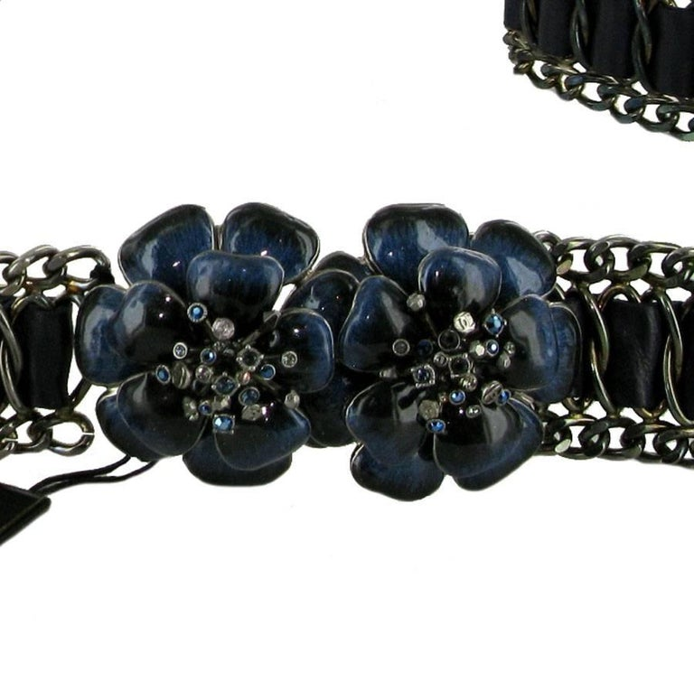 CHANEL Camellia Jewelry Belt in Navy Blue Leather and ...