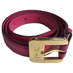 YVES SAINT LAURENT Pink Leather and Golden Hardware Belt Size 75FR