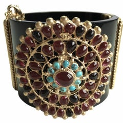 CHANEL Byzantine Cuff in Black Resin, Gilded Metal and Molten Glass