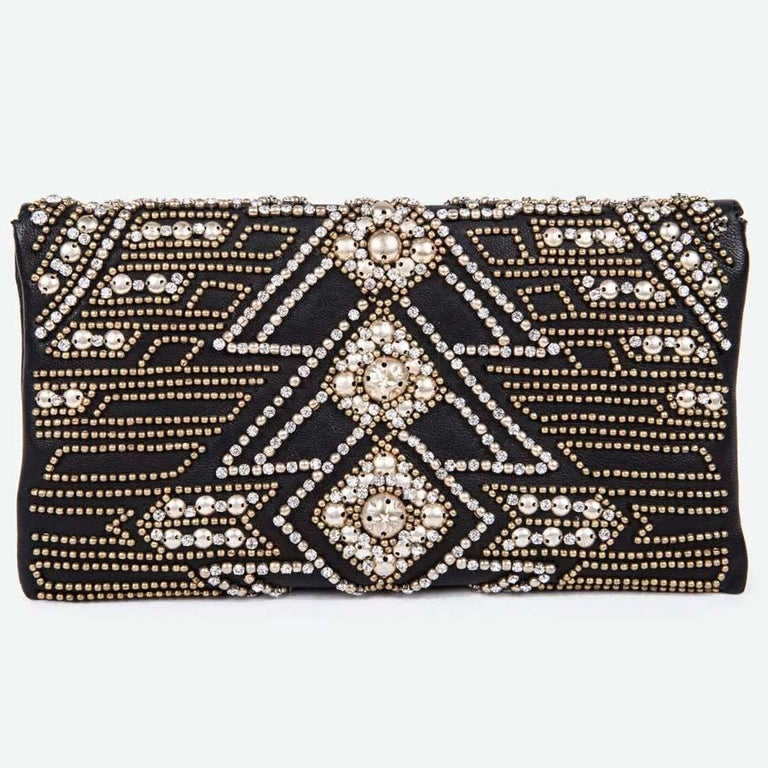 BALMAIN Clutch in Crumpled Leather, Studded in Golden Color and Rhinestones 2