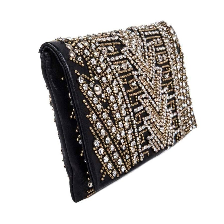BALMAIN Clutch in Crumpled Leather, Studded in Golden Color and Rhinestones 3
