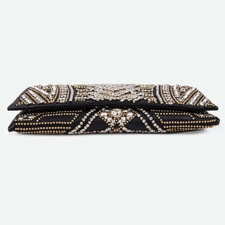 BALMAIN Clutch in Crumpled Leather, Studded in Golden Color and Rhinestones 5
