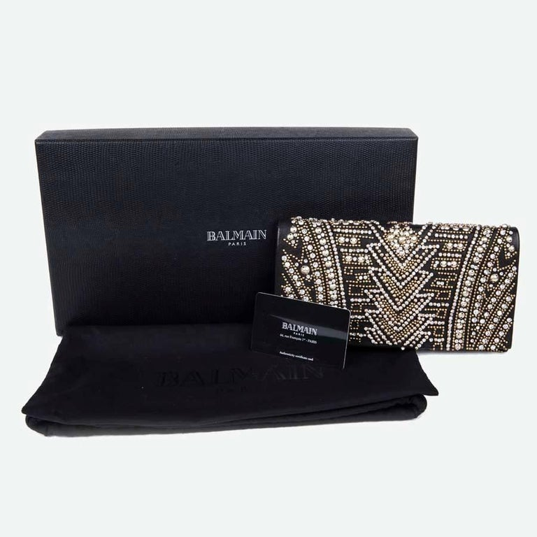 BALMAIN Clutch in Crumpled Leather, Studded in Golden Color and Rhinestones 7