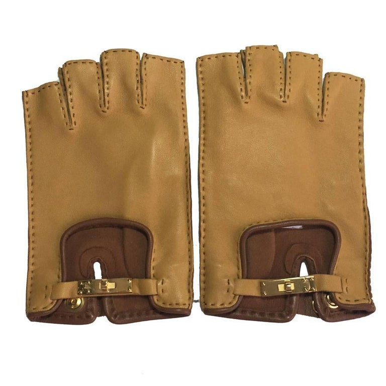 HERMES 'Kick' Fingerless Gloves in Glazed Curry and Cognac Lamb Leather