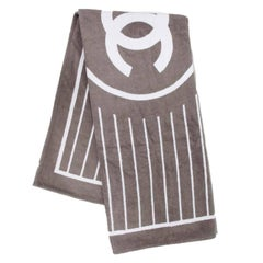 CHANEL Gray and White Beach Towel