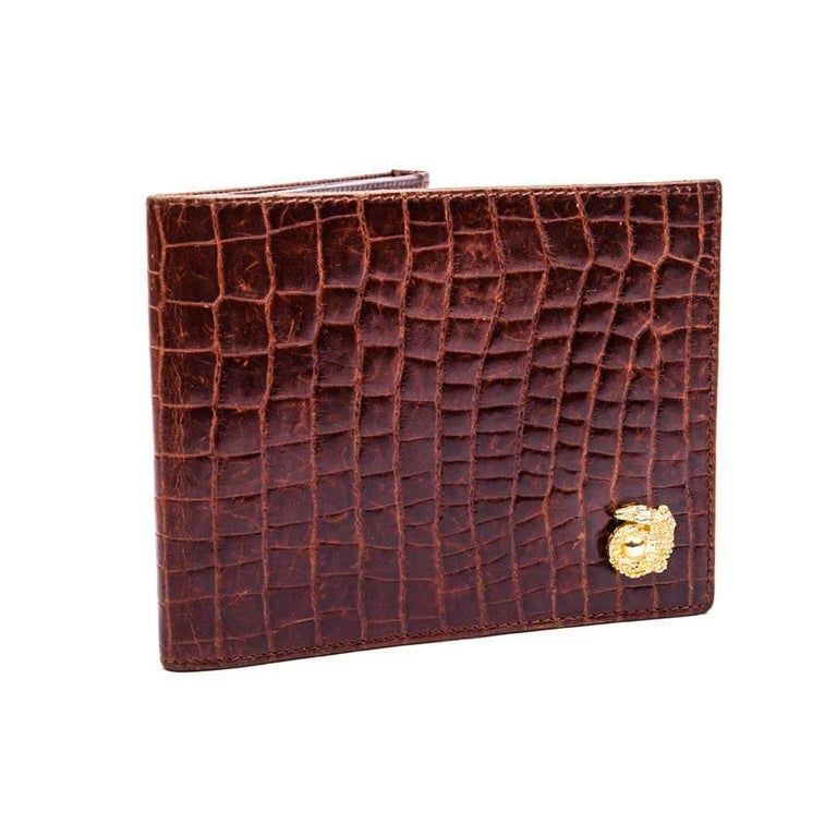 Vintage CELINE Wallet in Cognac Color Crocodile Leather