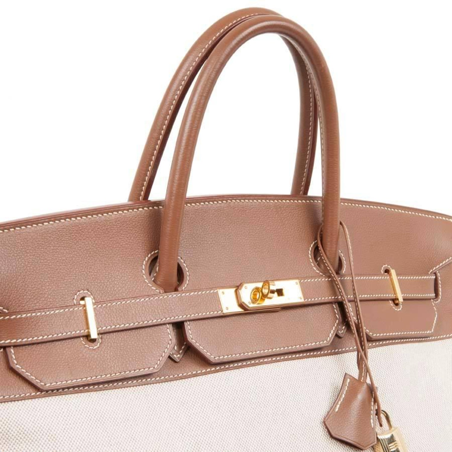 HERMES  Birkin  40 Bag in Ecru Canvas and Gold Epsom Calf Leather For Sale  at 1stdibs 288414cdf9b34