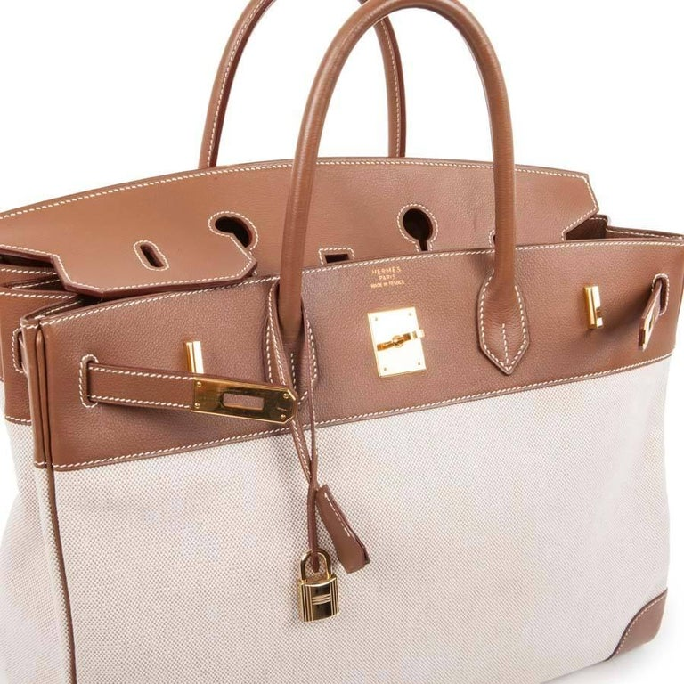 85c92cb9c7d HERMES  Birkin  40 Bag in Ecru Canvas and Gold Epsom Calf Leather For Sale