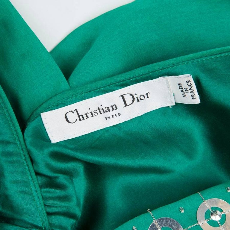 CHRISTIAN DIOR Cocktail Embroidered Dress in Malachite Green Green Silk Size 38 For Sale 3