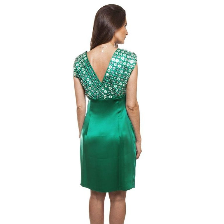 Women's CHRISTIAN DIOR Cocktail Embroidered Dress in Malachite Green Green Silk Size 38 For Sale