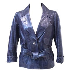 CHANEL Jacket in Faded Blue Calf Leather