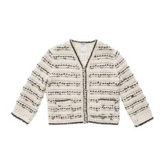 CHANEL Zip-Up Beige and Black Wool and Cashmere Jacket Size 42FR
