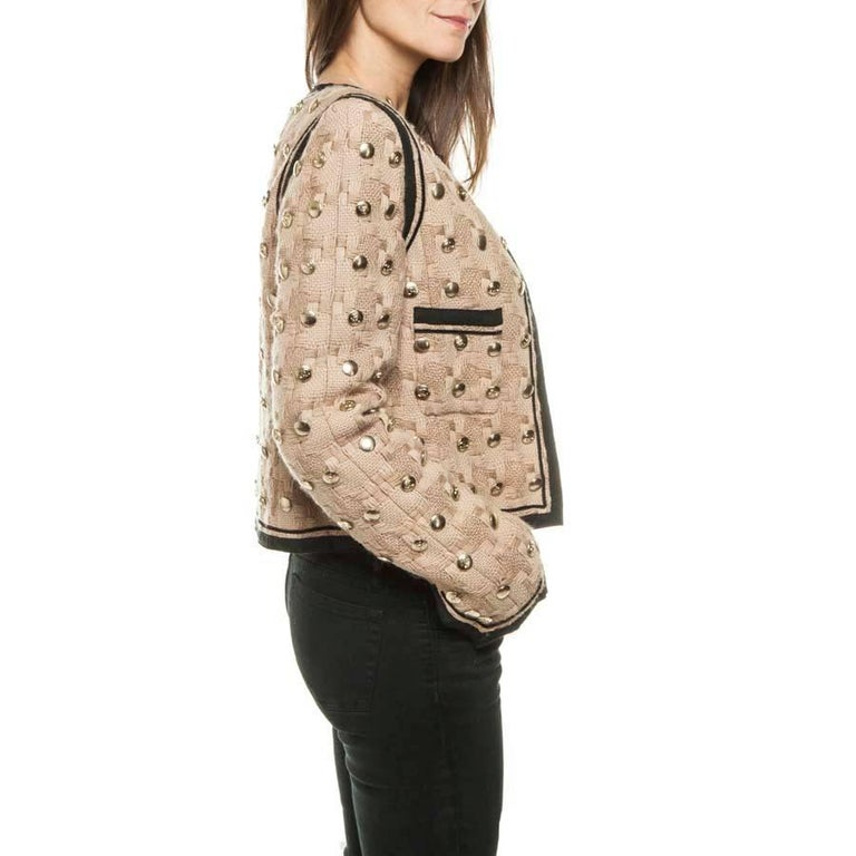 Collector CHANEL Jacket in Beige Wool Fully Studded Size 38FR In Excellent Condition For Sale In Paris, FR