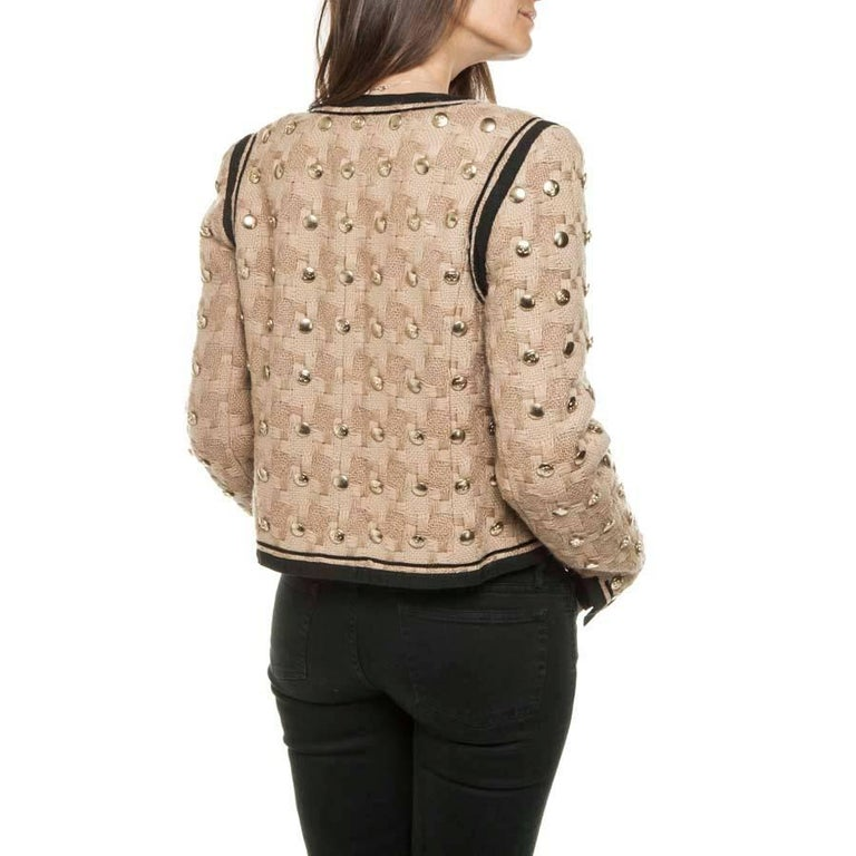 Women's Collector CHANEL Jacket in Beige Wool Fully Studded Size 38FR For Sale