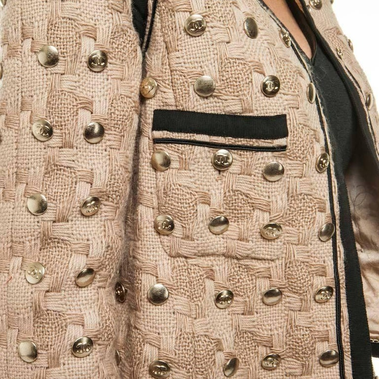 Collector CHANEL Jacket in Beige Wool Fully Studded Size 38FR For Sale 1
