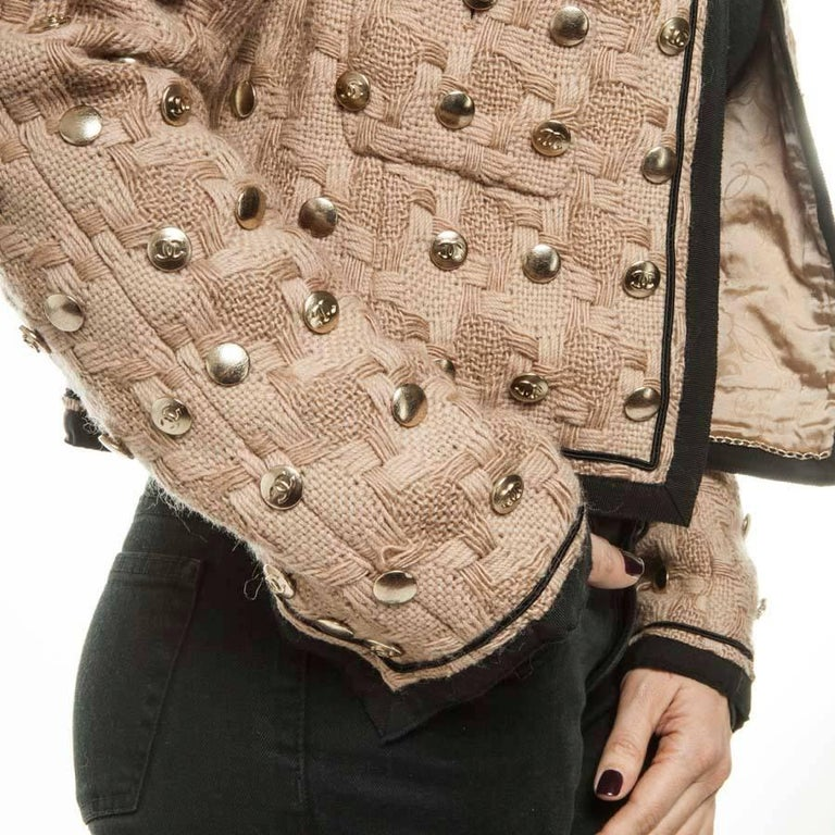 Collector CHANEL Jacket in Beige Wool Fully Studded Size 38FR For Sale 2