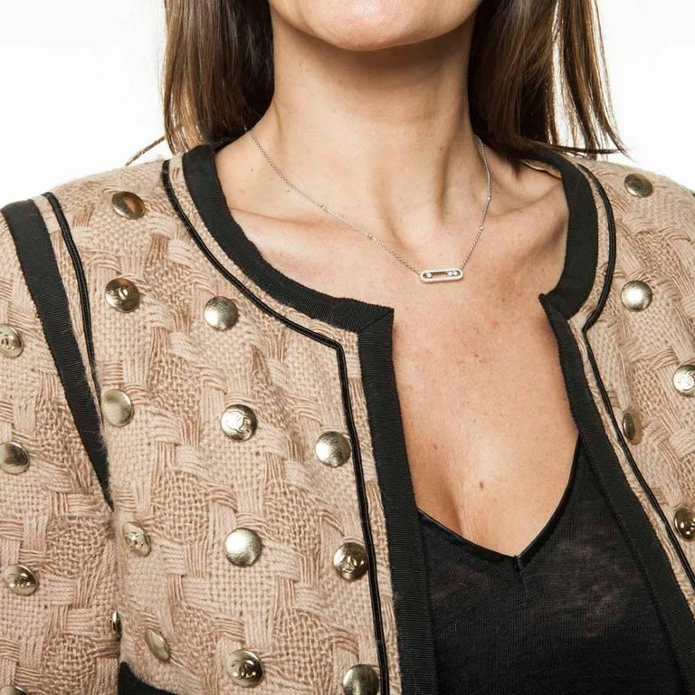Collector CHANEL Jacket in Beige Wool Fully Studded Size 38FR For Sale 3