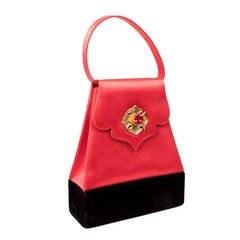 Vintage CHRISTIAN LACROIX Evening Bag in Red Silk Satin and Black Silk Velvet