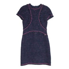 CHANEL Short Sleeves Dress in Blue in Tweed, Wool and Cotton Size 38FR