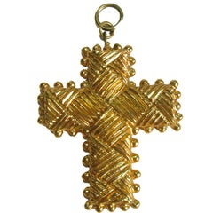 Vintage CHRISTIAN LACROIX Cross Pendant in Gilded Metal