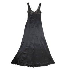 VERSACE Long Evening Dress in Black Silk Size 40IT