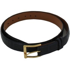 FRANCK NAMANI Belt in Blue Crocodile Leather