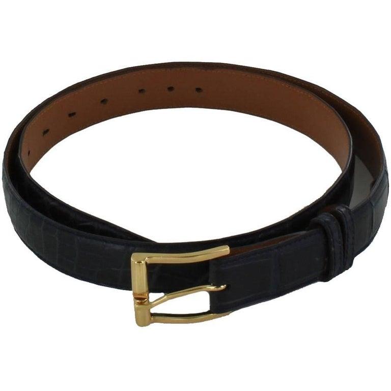 FRANCK NAMANI Belt in Blue Crocodile Leather