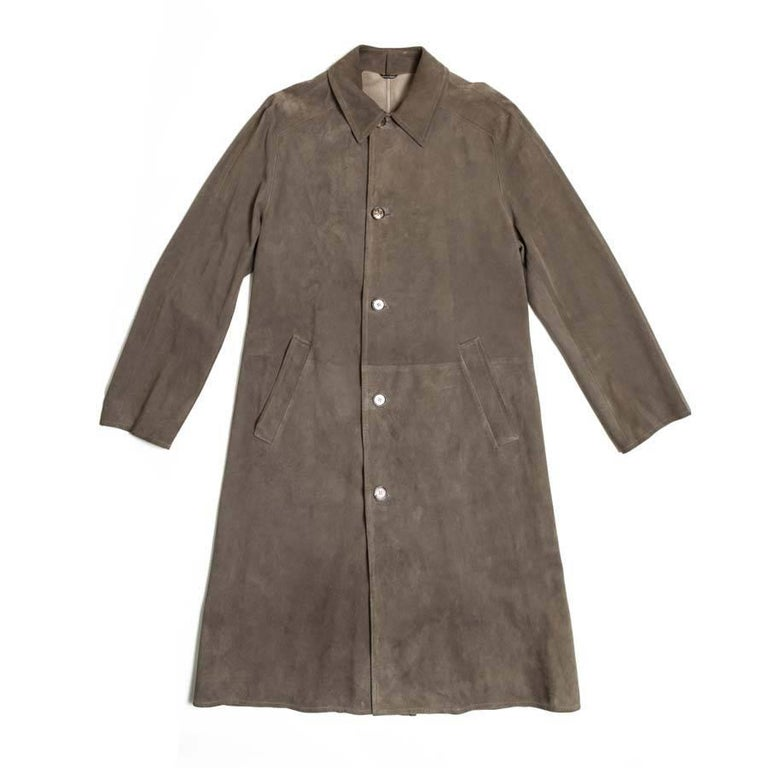 HERMES Trench Coat in Taupe Color Reindeer Size 46