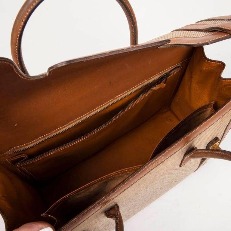 Vintage HERMES Flap Bag 'Drag' in Beige Canvas and Gold Leather For Sale 5