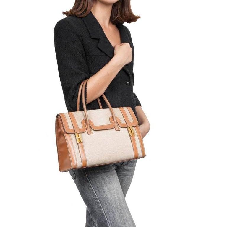 Vintage HERMES Flap Bag 'Drag' in Beige Canvas and Gold Leather For Sale 6