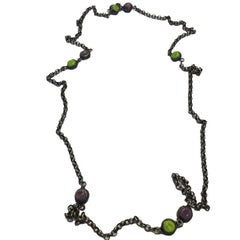 MARGUERITE DE VALOIS Necklace with Aged Silver Chain with Colored Cabochons