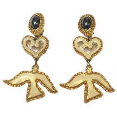 CHRISTIAN LACROIX Pendant Clip-on Earrings in Gilded Metal, Rhinestone, Resin