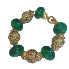 CHRISTIAN DIOR Fantasy Bracelet in Green and Multicolored Plastic Beads