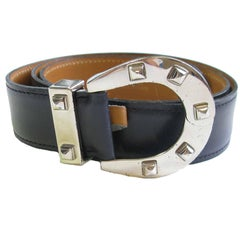 HERMES Navy Blue Leather Belt with Horseshoe Buckle Size 72 FR