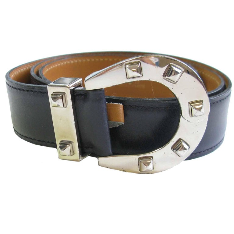 HERMES Navy Blue Leather Belt with Horseshoe Buckle Size 72 FR For Sale