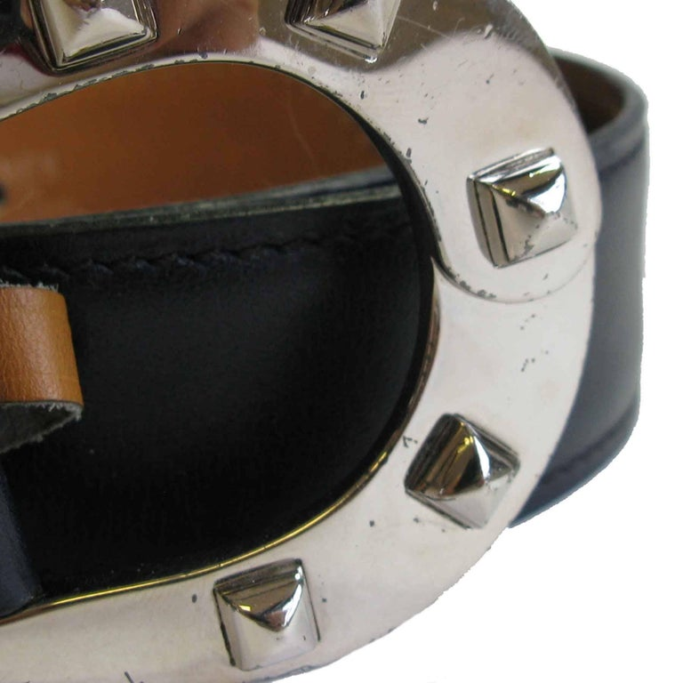 Black HERMES Navy Blue Leather Belt with Horseshoe Buckle Size 72 FR For Sale