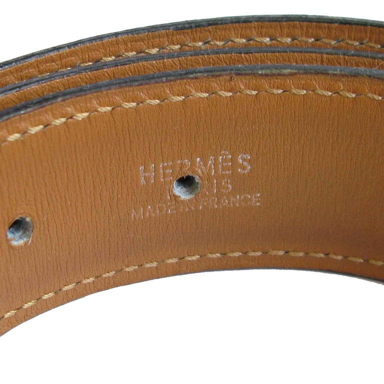 HERMES Navy Blue Leather Belt with Horseshoe Buckle Size 72 FR In Good Condition For Sale In Paris, FR