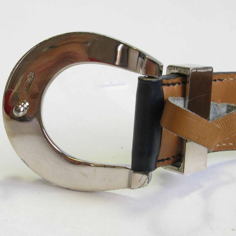 Women's HERMES Navy Blue Leather Belt with Horseshoe Buckle Size 72 FR For Sale