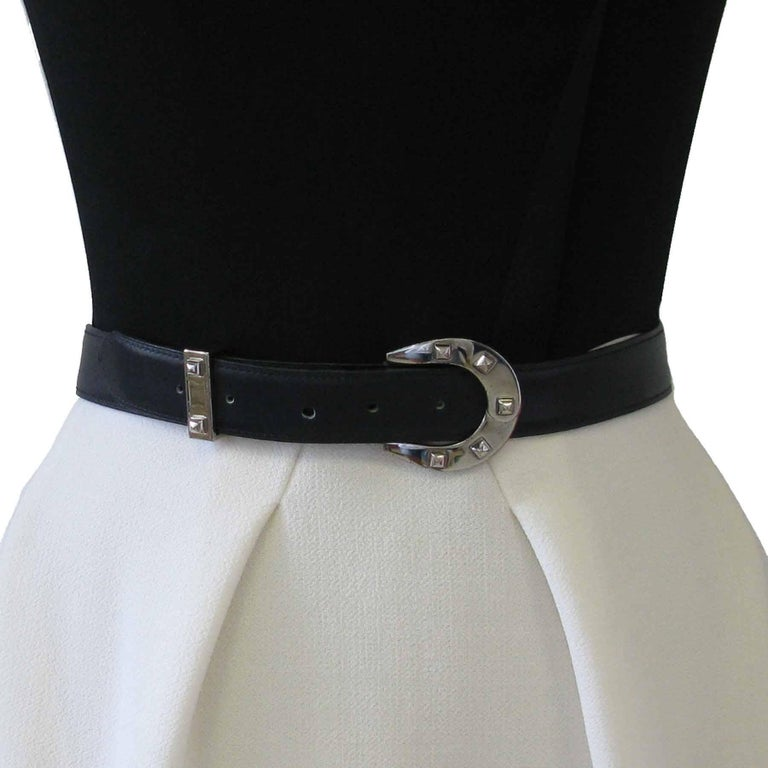 HERMES Navy Blue Leather Belt with Horseshoe Buckle Size 72 FR For Sale 4