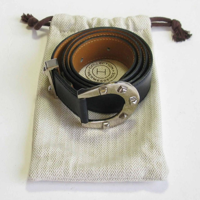HERMES Navy Blue Leather Belt with Horseshoe Buckle Size 72 FR For Sale 5