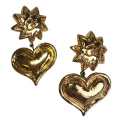 Vintage CHRISTIAN LCROIX Heart Pendant Clip-on Earrings in Gilt Metal