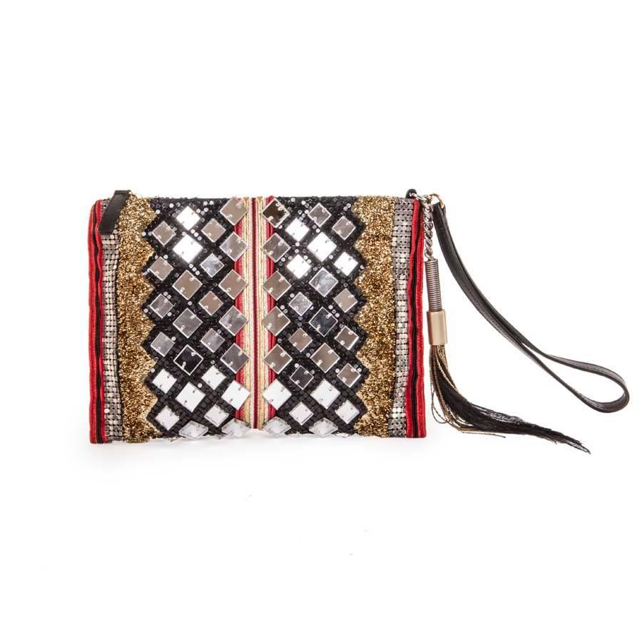 Balmain Evening Clutch In Lame Gold Fabric And Multicolored Embroideries FpHA6E6