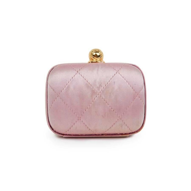 Beige CHANEL Minaudière in Pale Pink Quilted Silk Satin For Sale