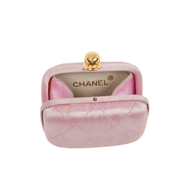 Women's CHANEL Minaudière in Pale Pink Quilted Silk Satin For Sale