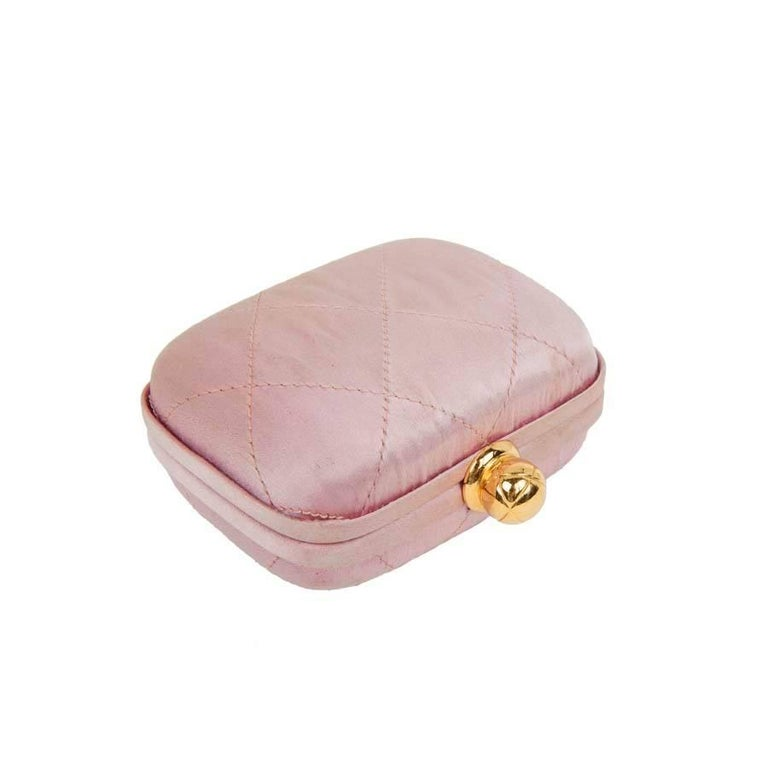 CHANEL Minaudière in Pale Pink Quilted Silk Satin For Sale 1